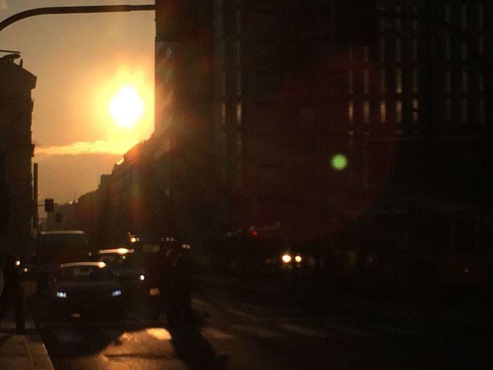 Sunrise Urban Traffic Building Silhouette Sun