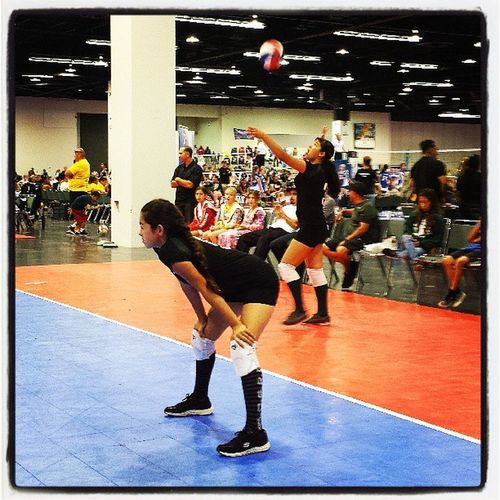 Gracie serving it up!! VolleyballTournament Commerce Crush... Number 3 all day!