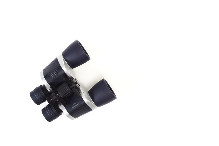High angle view of camera against white background