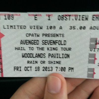Hail to the king A7x Avengedsevenfold Concert Ticket woodlands excited sopumped