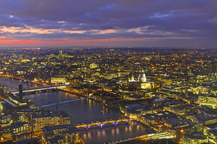 Sunset over St Paul from The Shard Cityscape London Bridge Southwark Bridge St Paul's Cathedral Architecture Building Building Exterior Built Structure City Cityscape Cloud - Sky Government High Angle View Illuminated Nature No People Outdoors River Sky Sunset Travel Destinations Water EyeEmNewHere