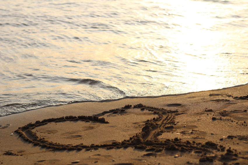 Beach Beauty In Nature Close-up Day Nature No People Outdoors Puddle Sand Sea Shore Sunset Water Wave