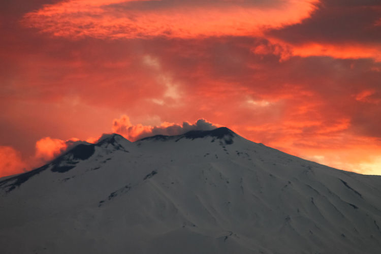 Sky Mountain Scenics - Nature Sunset Cloud - Sky Beauty In Nature Snow Winter Cold Temperature Tranquil Scene Tranquility Non-urban Scene Snowcapped Mountain Nature Idyllic Landscape Majestic Mountain Peak No People