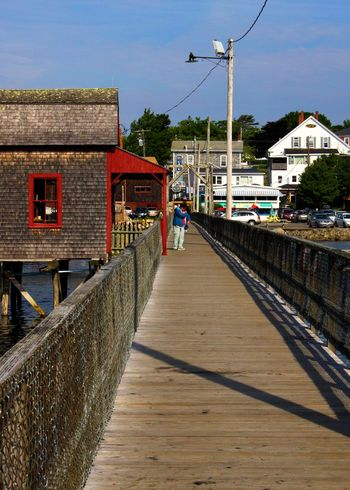 Boothbay Harbor Maine Footbridge Architecture Building Exterior Built Structure Cable City Clear Sky Day Harbor House Nature Outdoors Real People Residential Building Sky The Way Forward Town Water