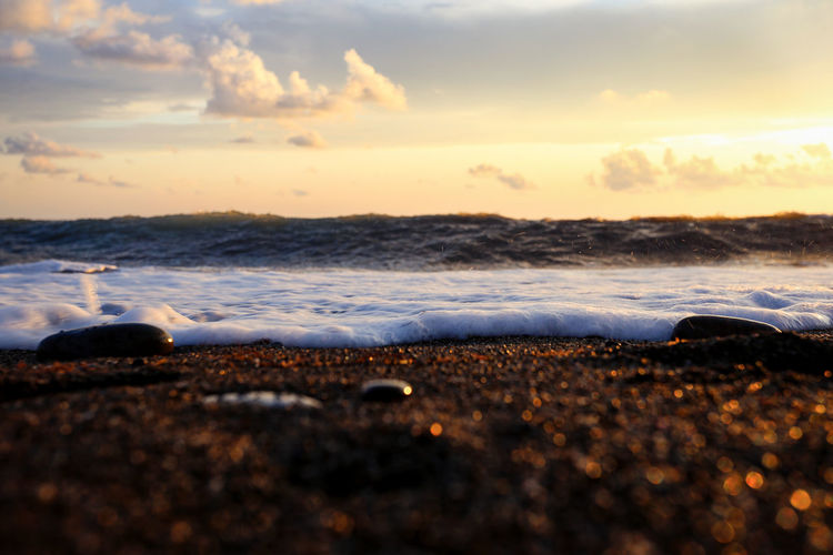 Beach Sea Sky Water Sunset Beauty In Nature Nature Cloud - Sky Wave Horizon Over Water Sea Foam Selective Focus Scenics - Nature Seascape Waterscape Sea And Sky Sky And Sea Sea And Clouds Sea And Sand Golden Sand Magic Of Nature The Beauty Of The Sea Beauty Of Sea My Best Photo