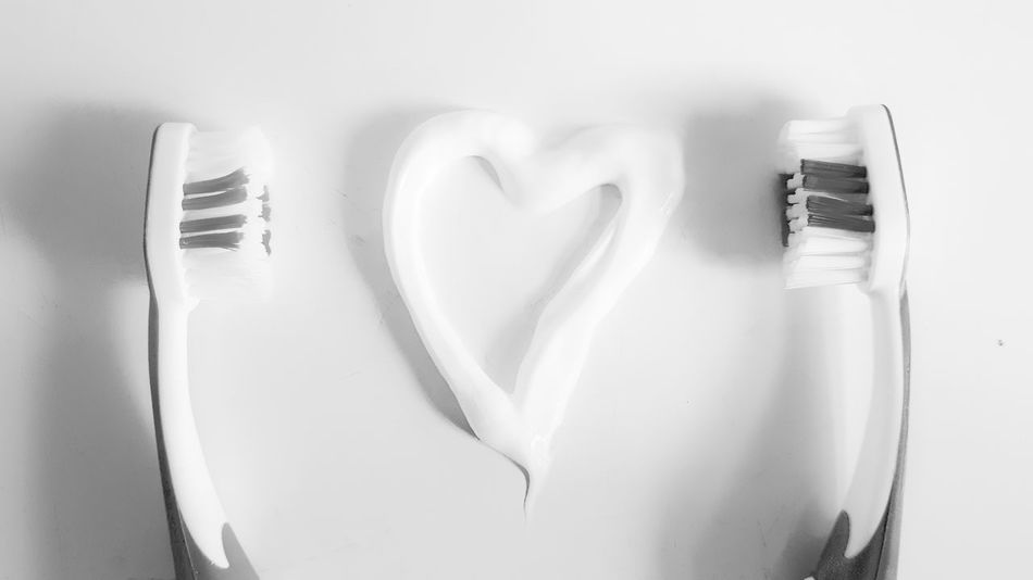 Heart Shape Love Indoors  No People Close-up Day Toothbrushes Toothpaste Toothbrush Blackandwhite Black & White Blackandwhite Photography EyeEmNewHere B&w Photography B&w