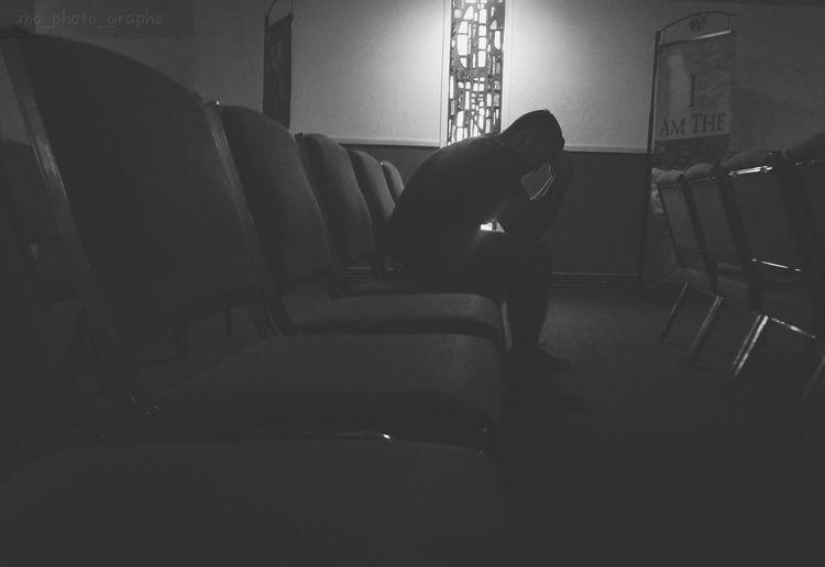 He prays. #candid #eyeem Gallery #blackandwhite #samsungmobilephotography #prayerweek Sitting Chair Home Interior
