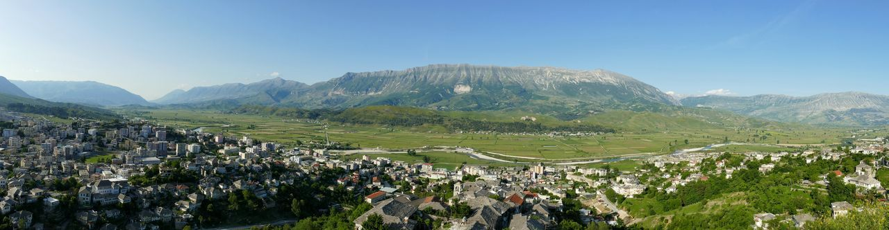 Gjirokaster Albania Panorama Cities Landscapes Mountains River Traveling Travel