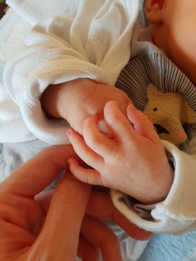 Newborn Moms & Dads Newborn Baby Hands Holding Cute Love Mommy Fingers At Home Sleeping Cozy Place Happiness Growing Up Childhood Peaceful Thankful Mother And Daughter Innocent EyeEm Best Shots Good Morning Lionshead Cuddle Caress Human Hand Young Women Close-up Babyhood 0-1 Months Baby Clothing