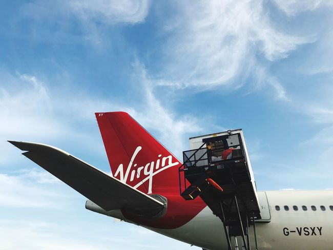 Virgin Airline Virgin Atlantic Transportation Sky Airplane Mode Of Transport Red Low Angle View Cloud - Sky Outdoors