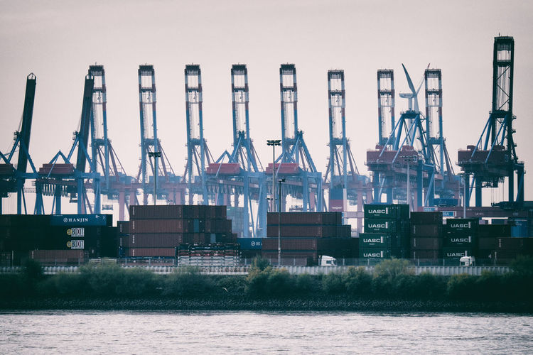 Hamburg Hamburg Harbour Hamburger Hafen Wind Power Business Commerce Commercial Dock Container Crane Crane - Construction Machinery Docks Elbe Freight Transportation Harbor Industry Pier Shipping  Shipping Goods Steel Trade Transportation Water Waterfront