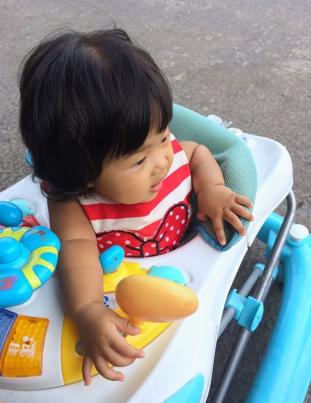 Black Hair Childhood High Angle View One Person Real People Day Outdoors Sitting Child Close-up People Girl Baby Babygirl Baby Walk