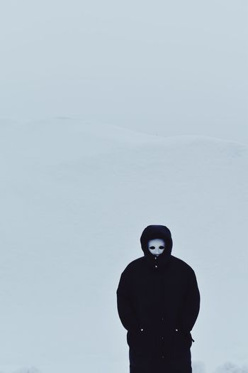 Black Snow Winter Mask Silhouette One Person Standing Lifestyles Young Adult White Background Day Outdoors