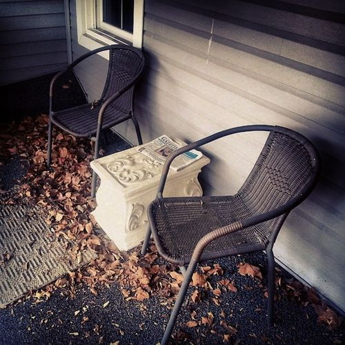 Outdoor chairs of darkness Last Autumns Leaves Pedastle deck chairs Lamont