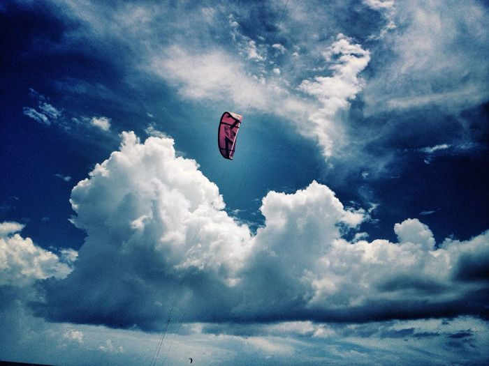 Let's fly...✨ Cloud - Sky Sky Flying Adventure Cloudporn Nature Beauty In Nature Beach Outdoors Kitesurfing Caribbean Another Life Chapter EyeEm Best Shots Women Photographers Nature Leisure Activity Amazing