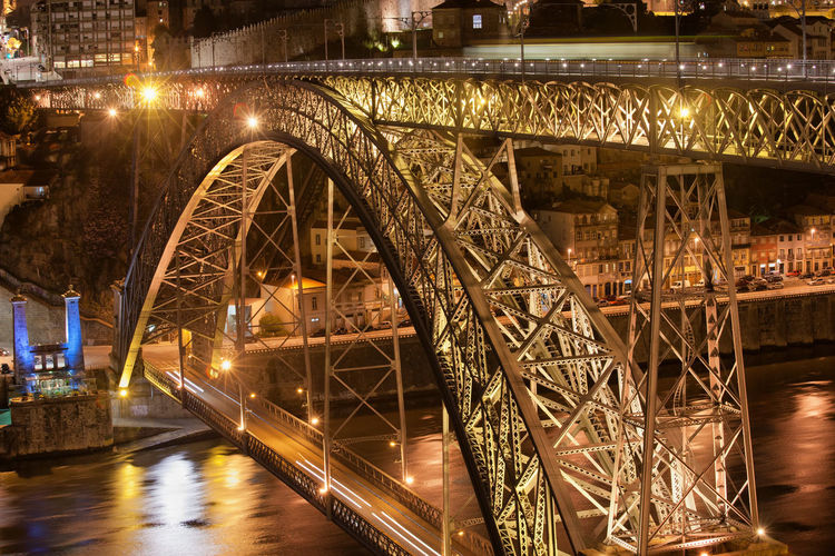 City of Porto at night in Portugal and Dom Luis I metal arch bridge on Douro river Dom Luise I Bridge Dom Luís I Bridge Douro  Lights Old Bridge Oporto Porto Portugal Arch Bridge Architecture Bridge Bridge - Man Made Structure Building Built Structure Europe Famous Place Historic Historical Illuminated Landmark Monument Night River Travel Destinations Water