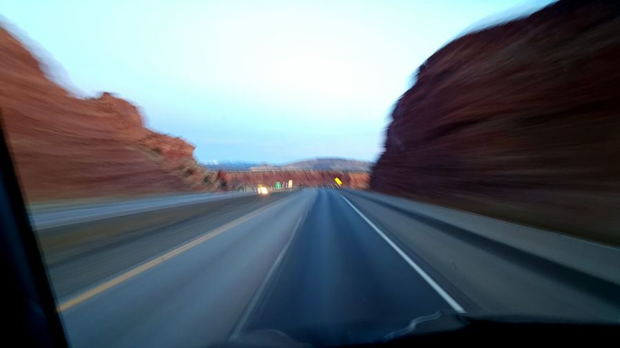 Blurred Motion Through The Window Interstate40 New Mexico