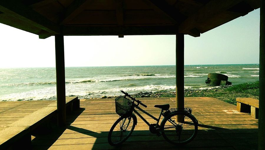 Sea Cycling Beach Beauty In Nature Travel Destinations Scenics Nature Seaside Sea View Seaside_collection Vacations Horizon Over Water Architecture Outdoors No People Sky Water Day Gazebo Nature 3XSPUnity EyeEm 3XSPUnity