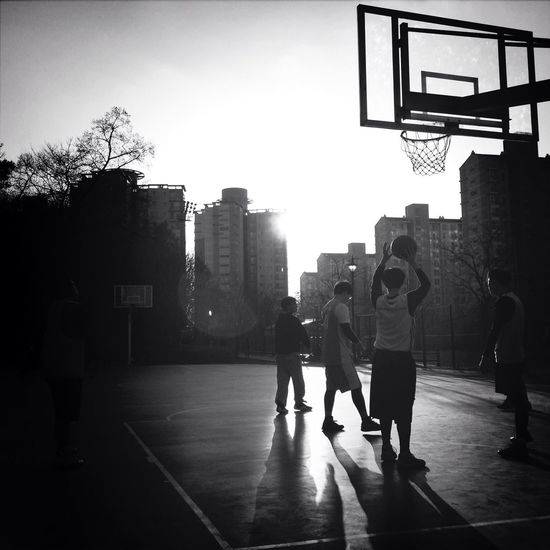 Taking Photos Playing Basketball Withfriends