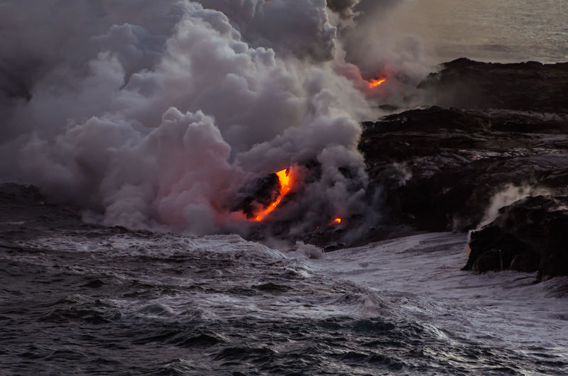 Big Island Day Erupting Hawaii Lava Nature No People Ocean Outdoors Power In Nature Smoke Water