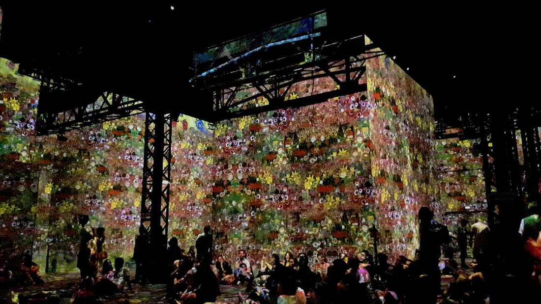 Museum Exposition Gustav Klimt Video On The Walls On The Floor Flowers Multicolored People People Sitting Great Moment Great Atmosphere Great Artist