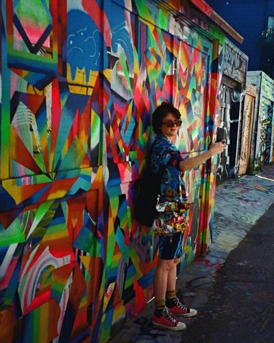 Graffiti Art LCA+ Mural Art Graffiti One Person Multi Colored Koduckgirl F2/400 Film Standing Clarion Alley Rainbow Street