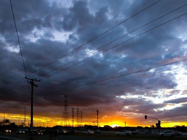 Cloud - Sky Sunset Dramatic Sky Cable Sky Nature Outdoors Silhouette Electricity  Technology Scenics Electricity Pylon Beauty In Nature Telephone Line Day Motofoto Motoz Brazil