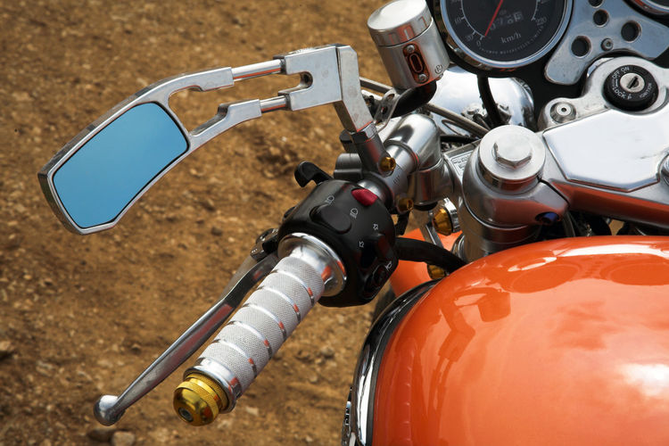 Close-Up Of Motorcycle Handle