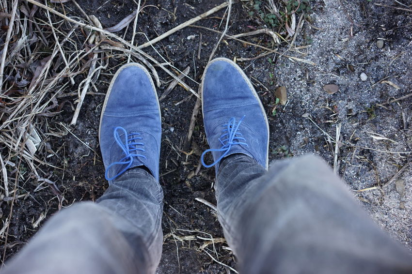 Blue Shoes Earth Feet Foot Footwear High Angle View Human Foot Man Shoes Personal Perspective Shoe Standing Standing