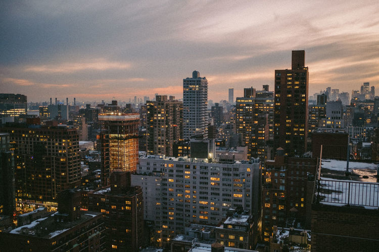 Sunset view of manhattan from rooftop