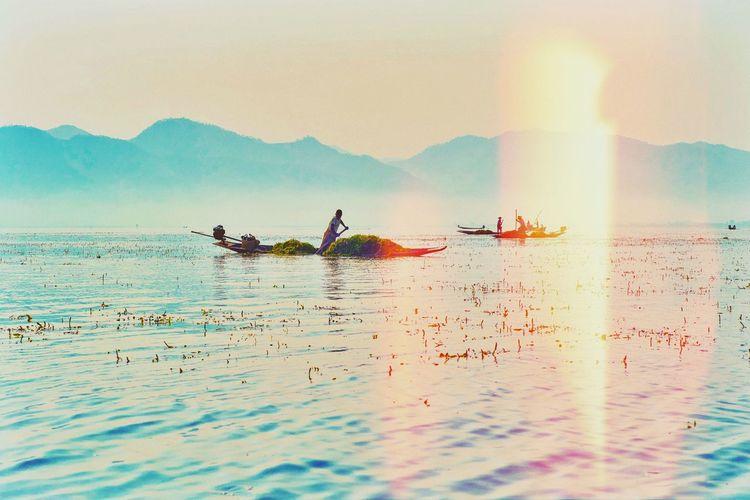 Myanmar Water Sky Sea Nature Beauty In Nature Bird Sunset Real People Scenics - Nature Men