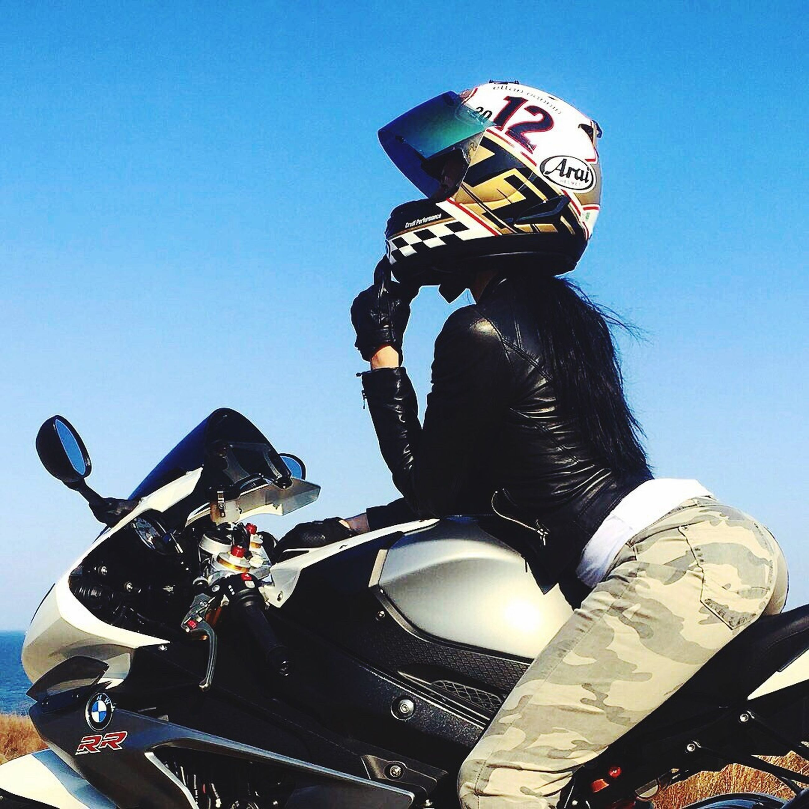 sport, one person, motorcycle, one man only, clear sky, men, skill, outdoors, adults only, biker, sky, only men, people, day, extreme sports, adult, motorcycle racing, motorsport