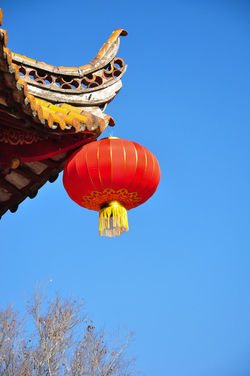 China's traditional small lanterns ASIA Celebration Lantern Ornament Sky And Clouds Blue Sky Blue Sky Background Clear Sky Day Festival Happy New Year Happy Time Lamps Lanternfestival Low Angle View No People Outdoors Red Lamp Red Lanterns Red Lanterns China Sky Temple - Building Temple Architecture Tranditional Tranditional Chinese Architecture