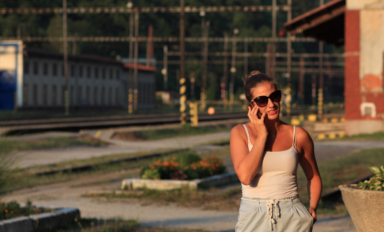 One Person Railway Railway Station Platform Standing Sunglasses Young Adult Young Women