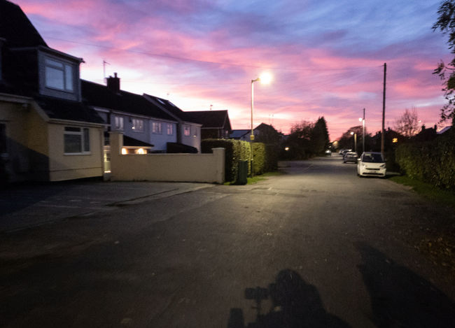 Building Exterior Sunset Street Residential District No People Road Cloud - Sky Dramatic Sky Pink Color Purple