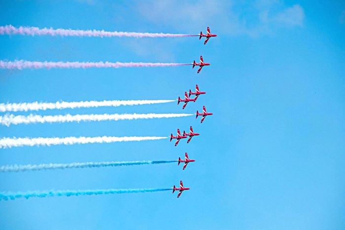Airshow Teamwork Low Angle View Flying Military Airplane Red Color Redarrows EyeEm Best Shots Eyem Best Shots Eye4photography  Eyegallery
