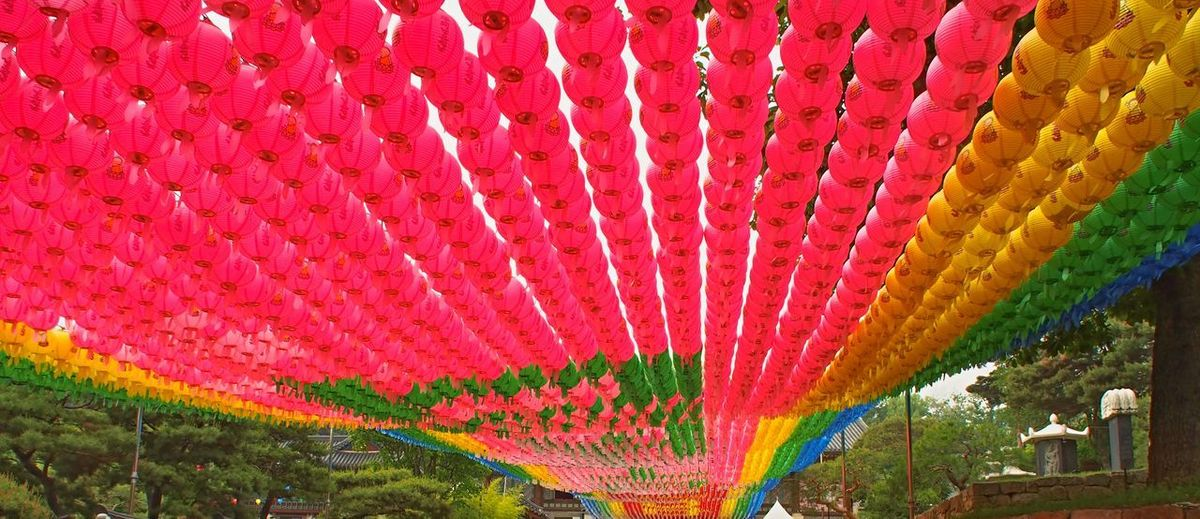Chinese New Year Cultures Day Hanging Lantern Lanterns Multi Colored No People Outdoors Red Temple Temple Entrance Walking In Seoul
