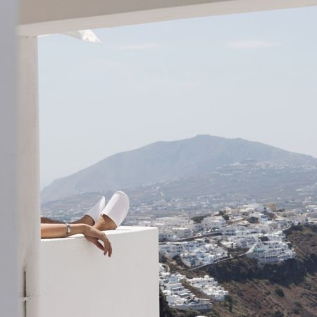 Mountain Architecture Sea Built Structure Day Building Exterior Nature Outdoors Mountain Range Whitewashed Sky Landscape No People Scenics Cityscape EyeEmNewHere Santorini, Greece Architecture The Week On EyeEm Modern Santorini