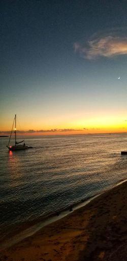 Nautical Vessel Water Astronomy Sea Sailing Ship Sunset Beach Galaxy Wave Sailboat