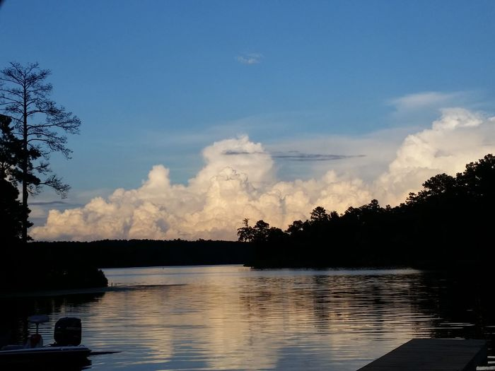Unedited No Filter No Edit Clouds And Sky Lake View Outdoors Rainy Days Showcase July Water Lake Life Silhouettes Silouette & Sky Puffy Clouds Cloud Formations Cloud_collection  Cloud Explosion Mississippi Summer