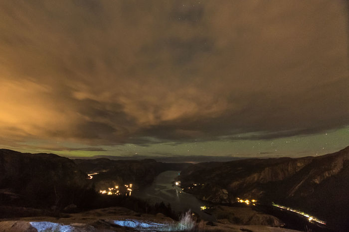 Northern lights over Lysefjord Aurora Lysefjord Northern Lights Norway Beauty In Nature Cloud - Sky Landscape Mountain Nature Night No People Outdoors Scenics Sky Sunset Tranquility
