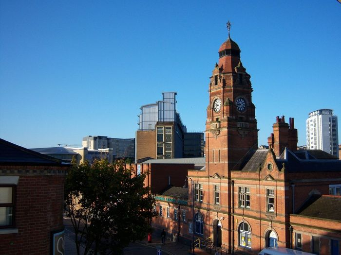 Architecture Clear Sky City Travel Destinations Built Structure Business Finance And Industry Outdoors Tree No People Building Exterior Sky Cityscape Clock Tower Clock Day Nottingham Street Leisure Activity Leisure Centre