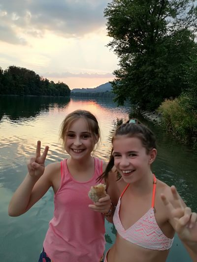 Friends Riverside River Rhine Summer Summertime Holiday Endlesssummer Tree Water Friendship Child Portrait Smiling Togetherness Females Happiness Girls Sibling Twin Bikini Children Swimwear Selfie