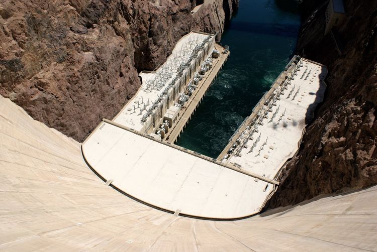 High angle view of hoover dam on colorado river