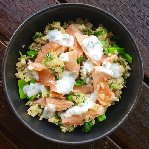 Dinner Lunch Quinoa Salad Seafood Sports Nutrition Activeandnourished Athlete Food Close-up Day Directly Above Food Food And Drink Freshness Healthy Eating Healthy Food High Angle View Indoors  No People Nutrition Protein Ready-to-eat Recoveryfood Salmon Yogurt