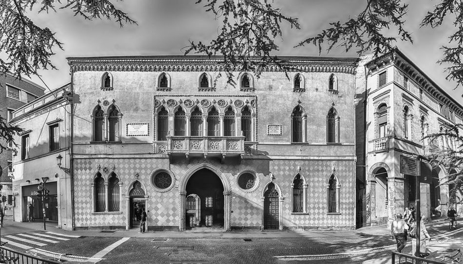 PADUA, ITALY - APRIL 28: Panoramic view with facade of Palazzo Romanin Jacur, picturesque building in the city center of Padua, Italy, April 28, 2018 Arch Architecture Building Building Exterior Built Structure Day History No People Old Outdoors The Past Travel Destinations
