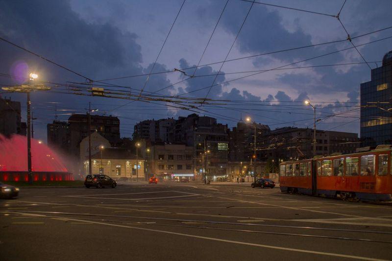 Night mood on Slavija square in Belgrade, Serbia Buildings Architecture Street Road Night City Illuminated Street Lights Traffic Belgrade Mood