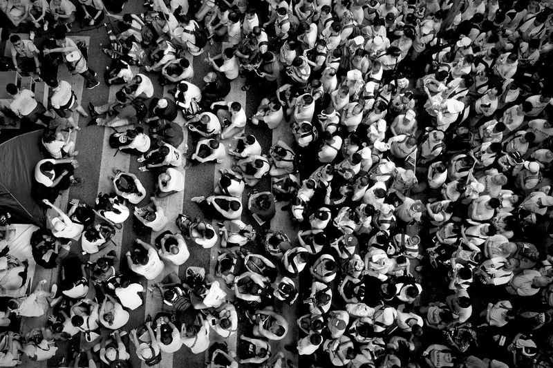 High angle view of crowd on street