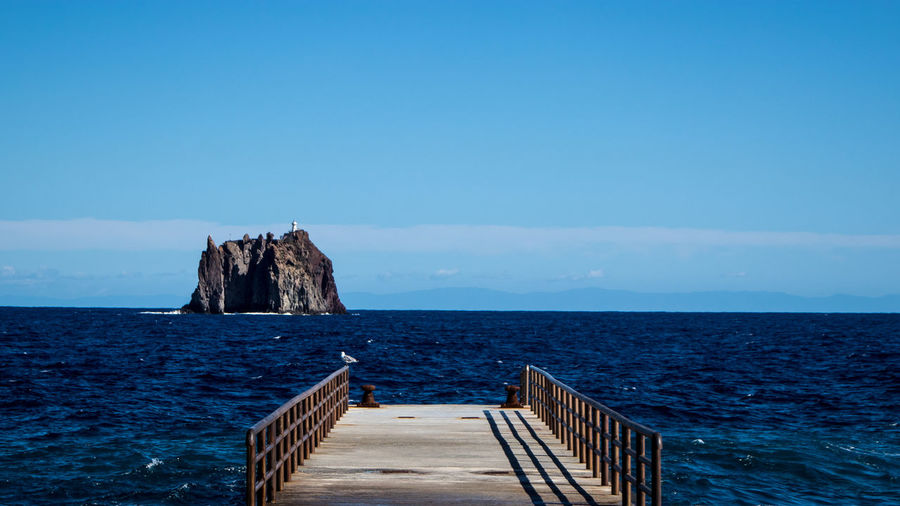 An abandoned pier in the island of stromboli.