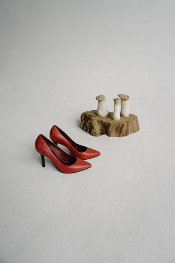Still Life White Background Indoors  No People Copy Space Studio Shot Group Of Objects Close-up Wood - Material High Angle View Representation Red Shoes Mushrooms Mushroom StillLifePhotography White Wood Redshoes Heels
